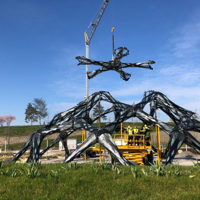 Aufbau des Faserpavillons(c) BUGA Heilbronn 2019 GmbH